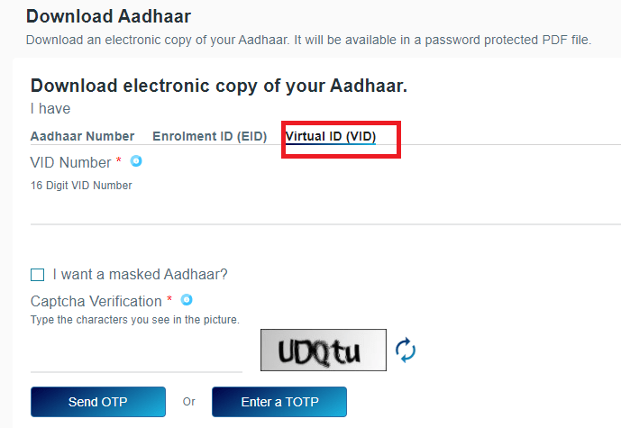 Download Aadhaar Card by Virtual ID